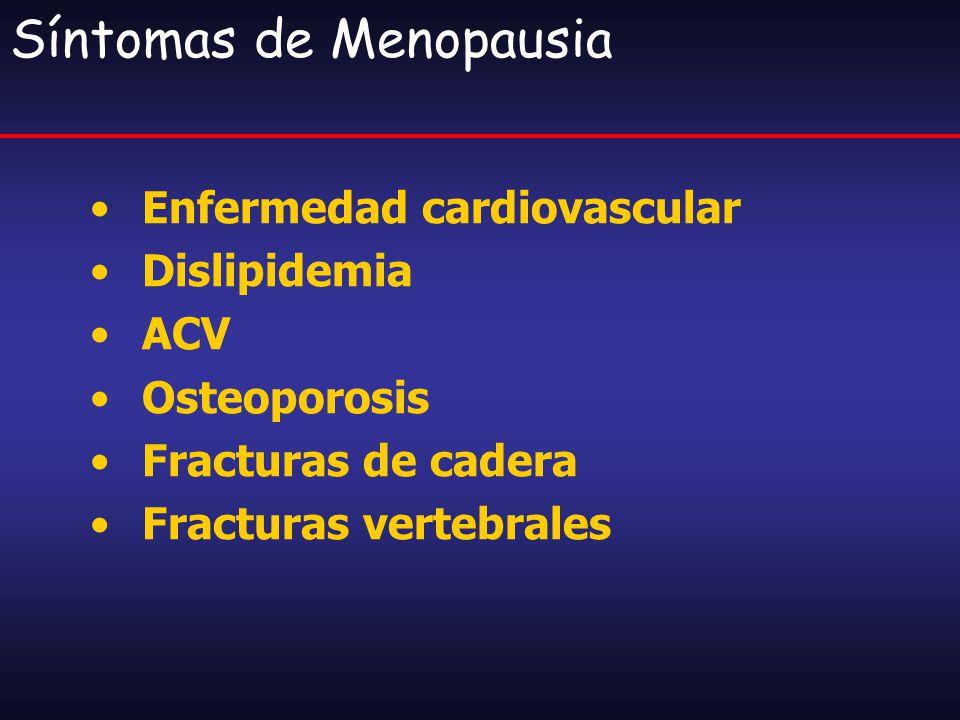 Terapia de Sustitución Hormonal Objetivos: Prevención de pérdida ósea Disminución o abolición de síntomas vasomotores Prevención de Enfermedad Cardiovascular Efectos Neuroprotectores Atrofia Urogenital