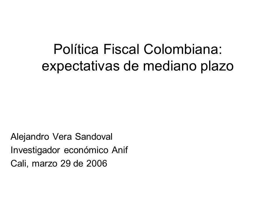 Política Fiscal Colombiana: expectativas de mediano plazo Alejandro Vera Sandoval Investigador económico Anif Cali, marzo 29 de 2006