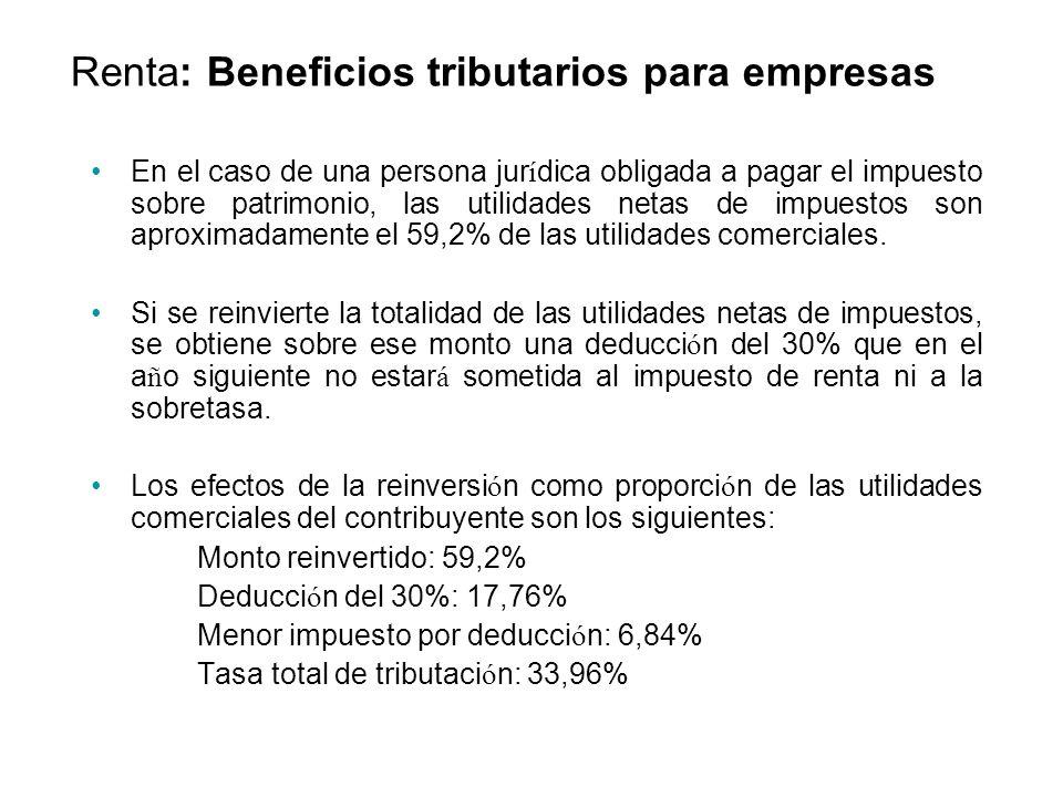 En el caso de una persona jur í dica obligada a pagar el impuesto sobre patrimonio, las utilidades netas de impuestos son aproximadamente el 59,2% de las utilidades comerciales.