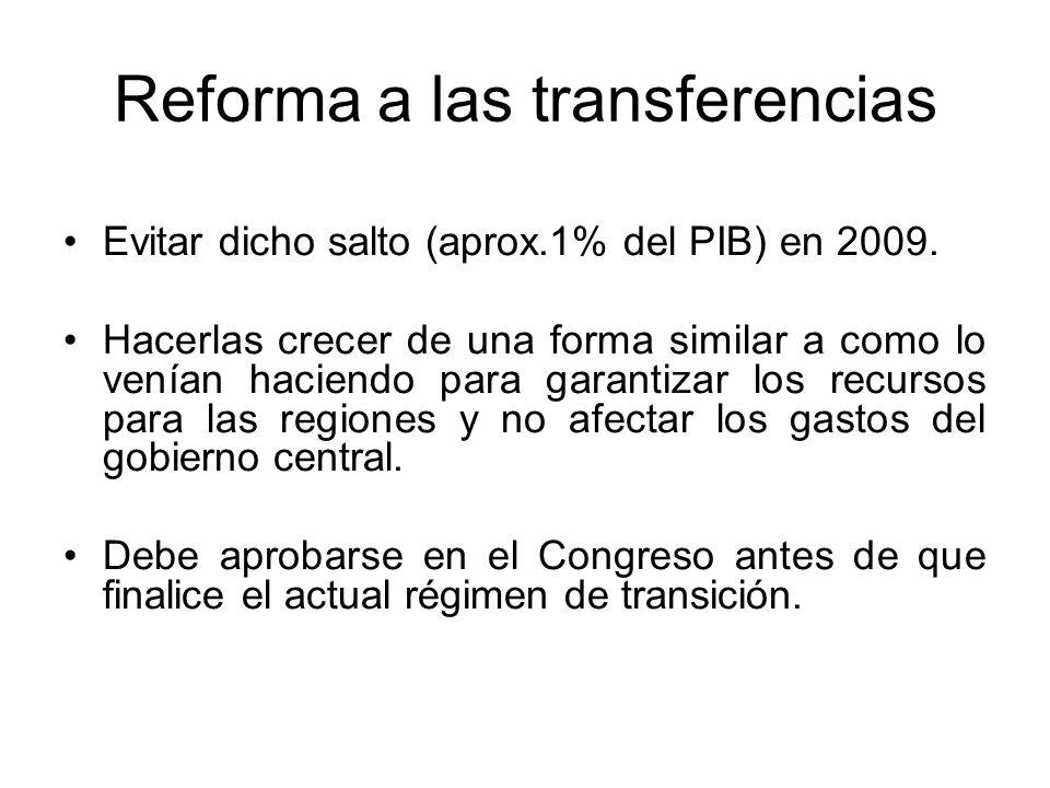 Reforma a las transferencias Evitar dicho salto (aprox.1% del PIB) en 2009.