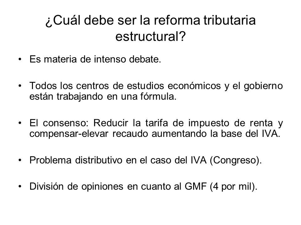 ¿Cuál debe ser la reforma tributaria estructural. Es materia de intenso debate.