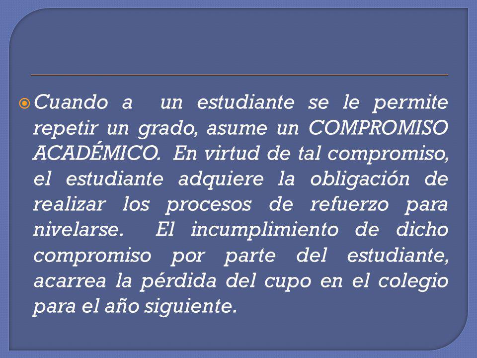 El Compromiso Académico es un documento oficial del colegio, que lleva las firmas de los directivos de la institución designados para el caso, del(a) estudiante y de los padres de familia.