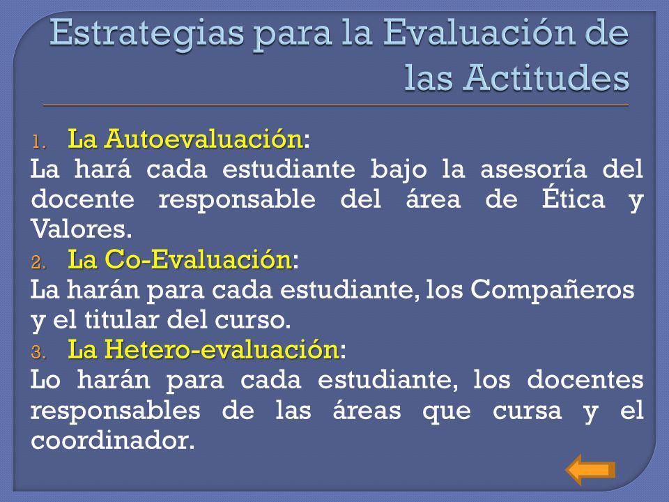 1. L a Autoevaluación: La hará cada estudiante bajo la asesoría del docente responsable del área de Ética y Valores. 2. L a Co-Evaluación: La harán pa