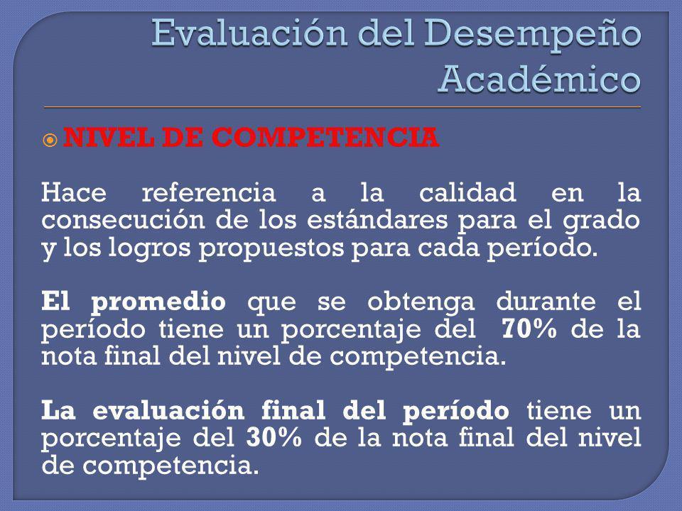 NIVEL DE COMPETENCIA Hace referencia a la calidad en la consecución de los estándares para el grado y los logros propuestos para cada período. El prom
