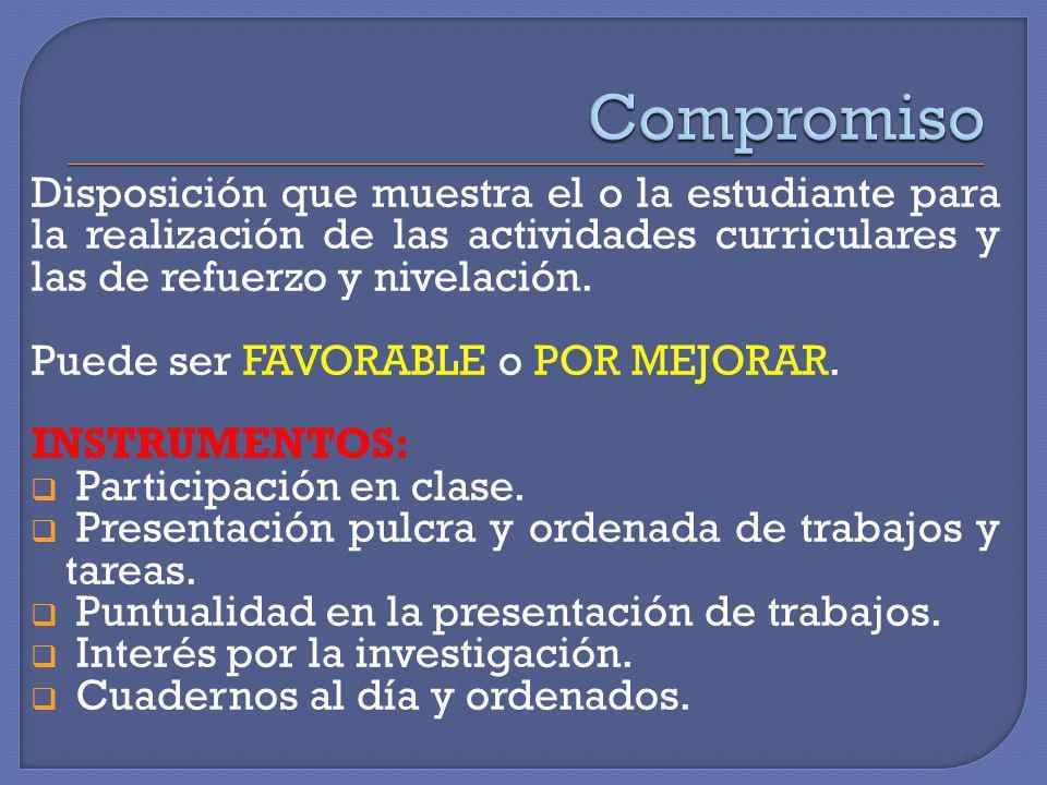 Disposición que muestra el o la estudiante para la realización de las actividades curriculares y las de refuerzo y nivelación. Puede ser FAVORABLE o P