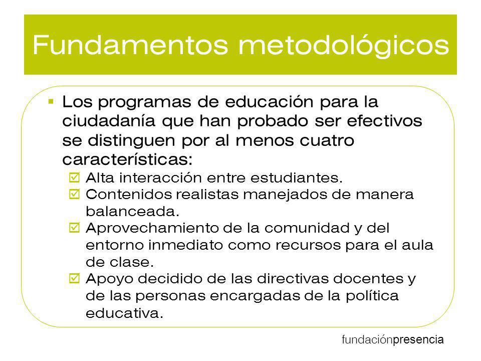 fundación presencia Fundamentos metodológicos Los programas de educación para la ciudadanía que han probado ser efectivos se distinguen por al menos c