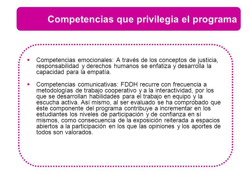 Competencias emocionales: A través de los conceptos de justicia, responsabilidad y derechos humanos se enfatiza y desarrolla la capacidad para la empa