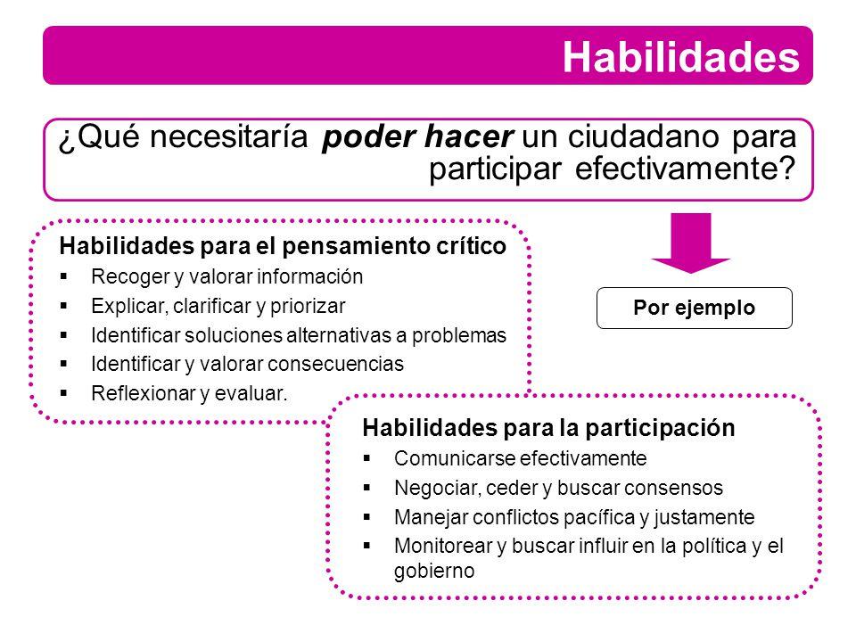 Habilidades ¿Qué necesitaría poder hacer un ciudadano para participar efectivamente? Habilidades para el pensamiento crítico Recoger y valorar informa