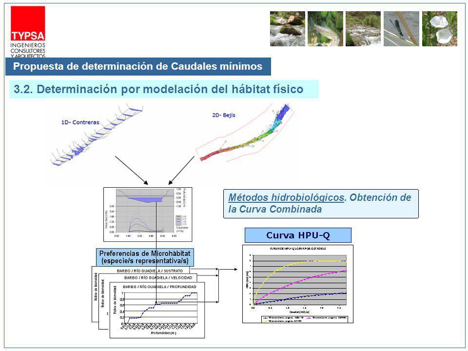Propuesta de determinación de Caudales mínimos 3.2. Determinación por modelación del hábitat físico Métodos hidrobiológicos. Obtención de la Curva Com