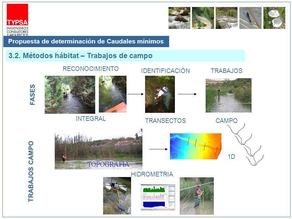 Propuesta de determinación de Caudales mínimos 3.2. Métodos hábitat – Trabajos de campo 1D HIDROMETRIA TRABAJOS CAMPO FASES TRABAJOS CAMPO RECONOCIMIE