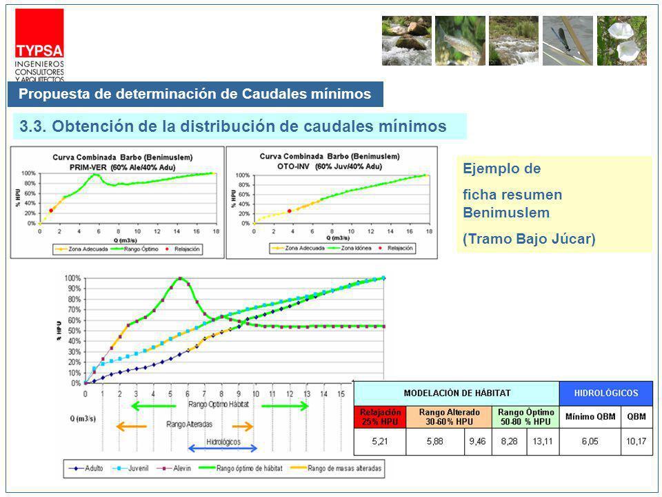 Propuesta de determinación de Caudales mínimos 3.3. Obtención de la distribución de caudales mínimos Ejemplo de ficha resumen Benimuslem (Tramo Bajo J