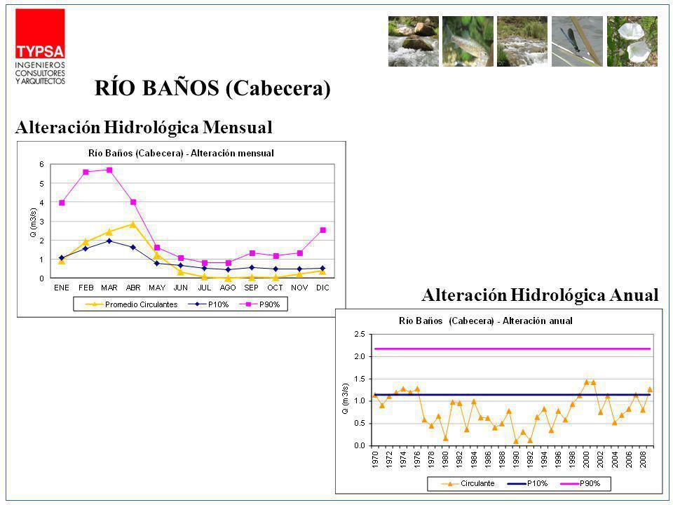 Alteración Hidrológica Mensual Alteración Hidrológica Anual RÍO BAÑOS (Cabecera)