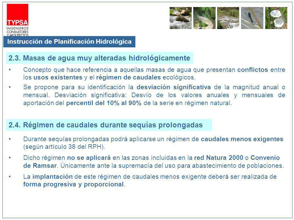Instrucción de Planificación Hidrológica Concepto que hace referencia a aquellas masas de agua que presentan conflictos entre los usos existentes y el régimen de caudales ecológicos.