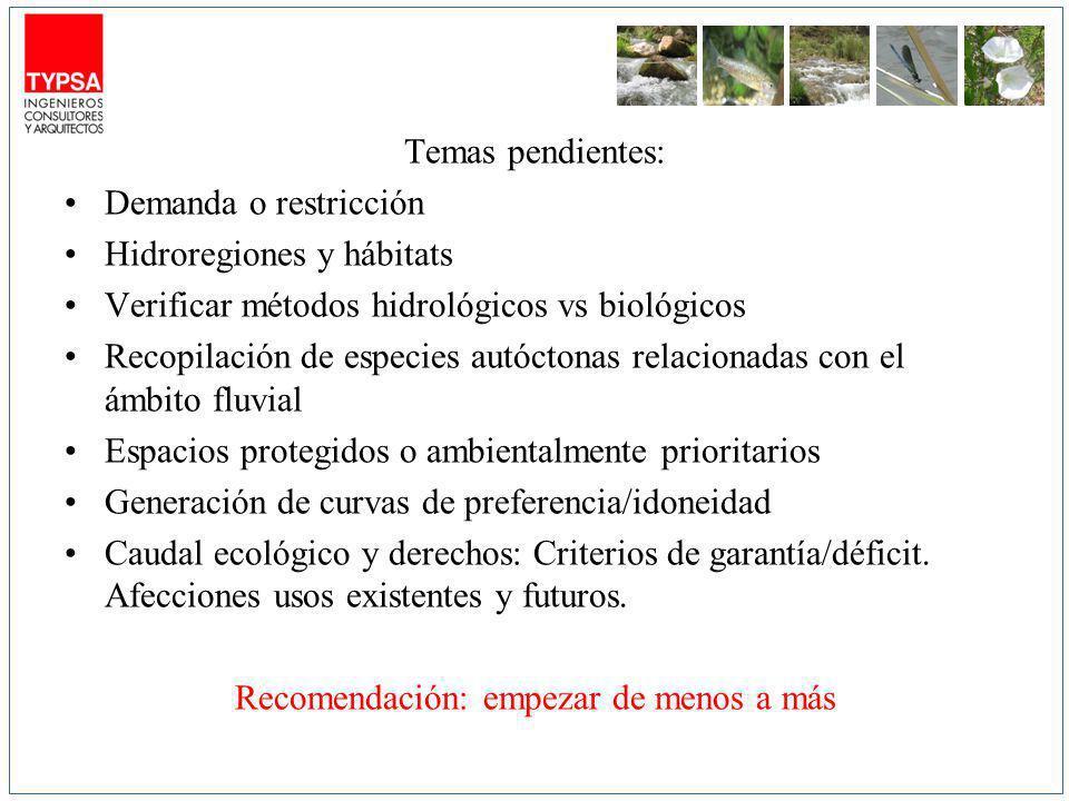Temas pendientes: Demanda o restricción Hidroregiones y hábitats Verificar métodos hidrológicos vs biológicos Recopilación de especies autóctonas rela