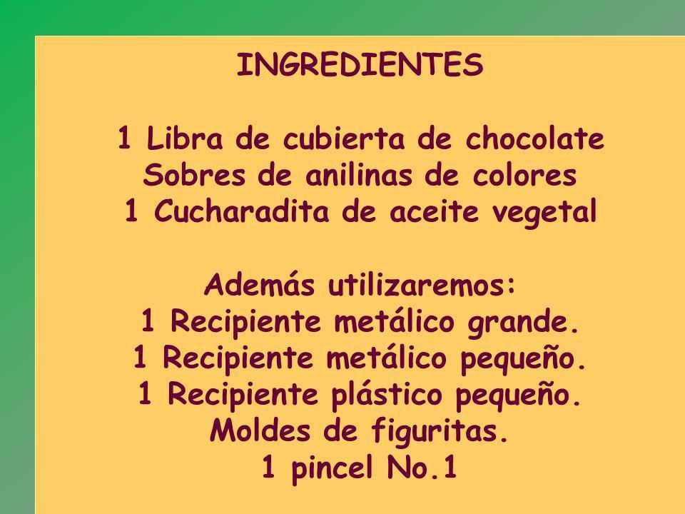 INGREDIENTES 1 Libra de cubierta de chocolate Sobres de anilinas de colores 1 Cucharadita de aceite vegetal Además utilizaremos: 1 Recipiente metálico grande.