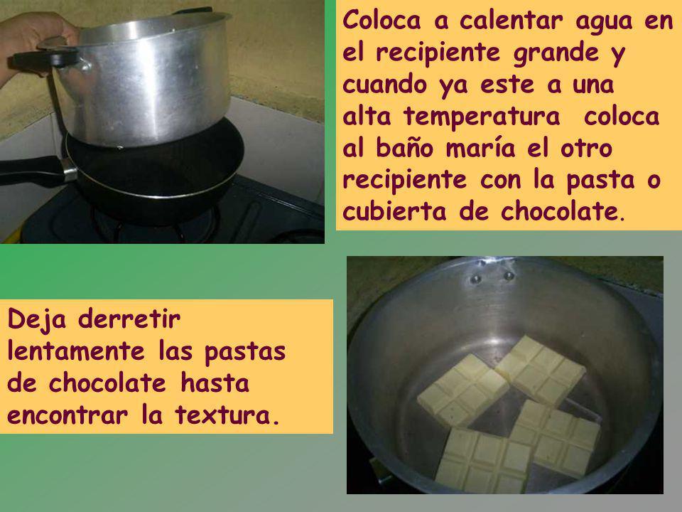 Coloca a calentar agua en el recipiente grande y cuando ya este a una alta temperatura coloca al baño maría el otro recipiente con la pasta o cubierta de chocolate.