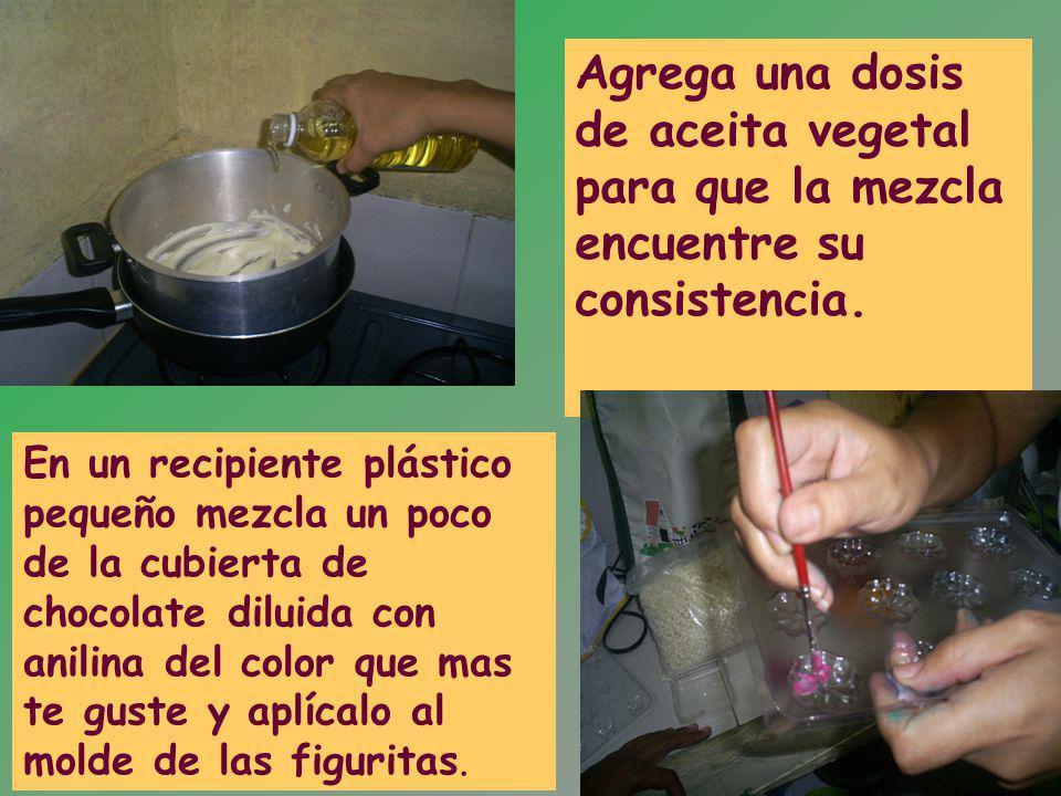 Agrega una dosis de aceita vegetal para que la mezcla encuentre su consistencia. En un recipiente plástico pequeño mezcla un poco de la cubierta de ch