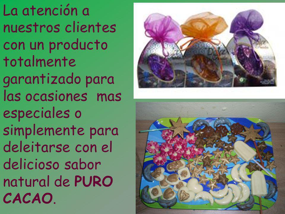 La atención a nuestros clientes con un producto totalmente garantizado para las ocasiones mas especiales o simplemente para deleitarse con el delicioso sabor natural de PURO CACAO.