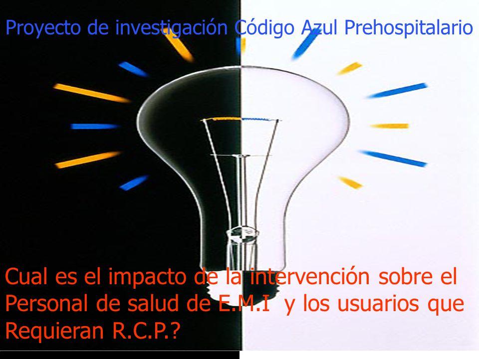 Proyecto de investigación Código Azul Prehospitalario Cual es el impacto de la intervención sobre el Personal de salud de E.M.I y los usuarios que Req