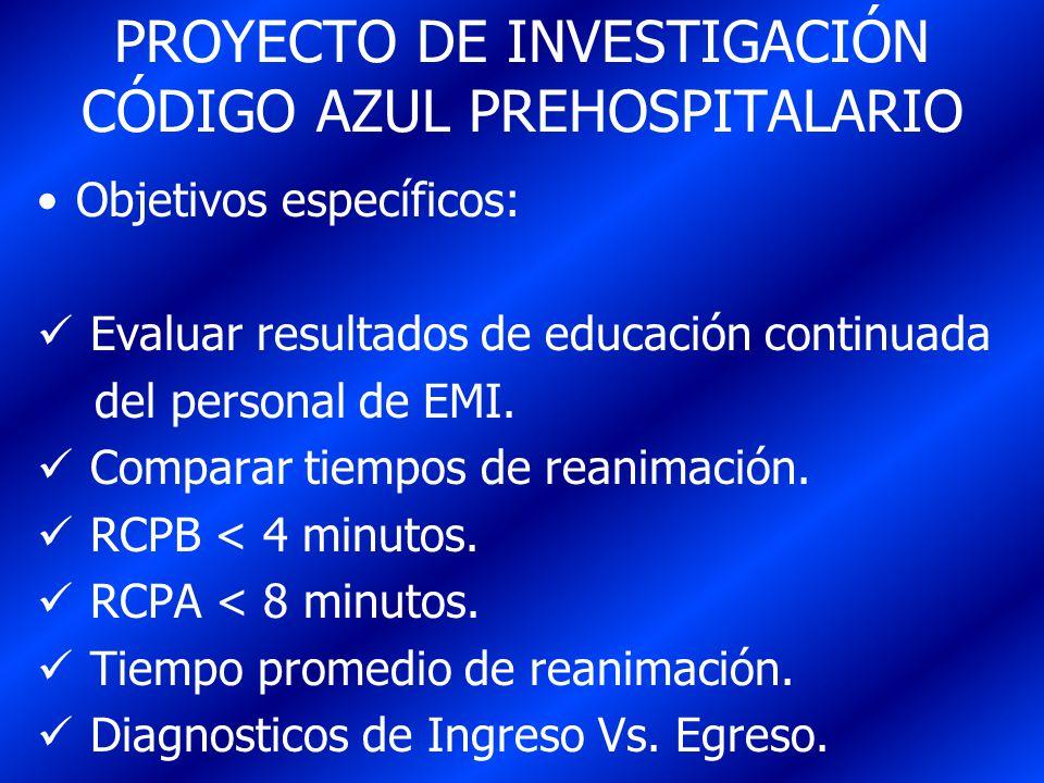 PROYECTO DE INVESTIGACIÓN CÓDIGO AZUL PREHOSPITALARIO Objetivos específicos: Evaluar resultados de educación continuada del personal de EMI. Comparar