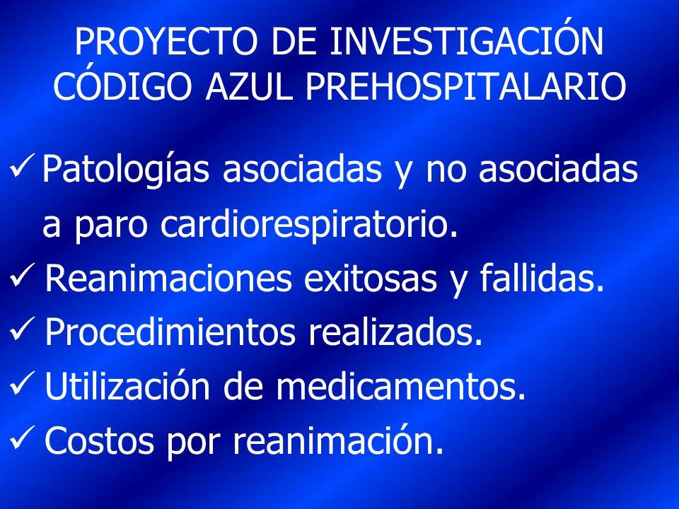 PROYECTO DE INVESTIGACIÓN CÓDIGO AZUL PREHOSPITALARIO Patologías asociadas y no asociadas a paro cardiorespiratorio. Reanimaciones exitosas y fallidas
