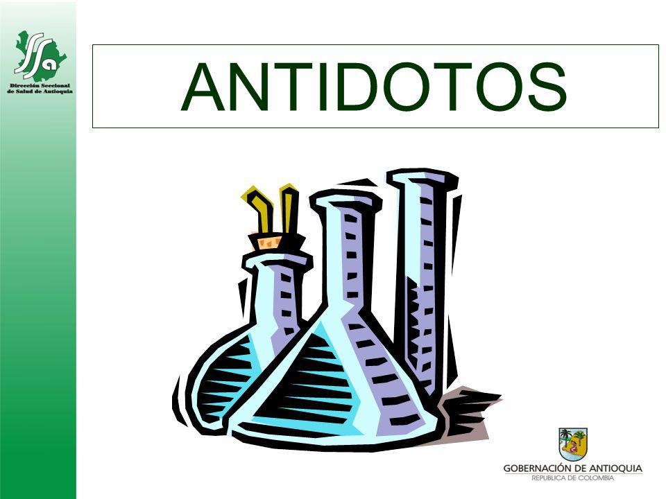 N- Acetilcisteina Atropina Desferoxamina Etanol Flumazenil Naloxona EDTA Kid para Cianuro Vitamina K Glucagón Penicilamina Fisostigmina BAL