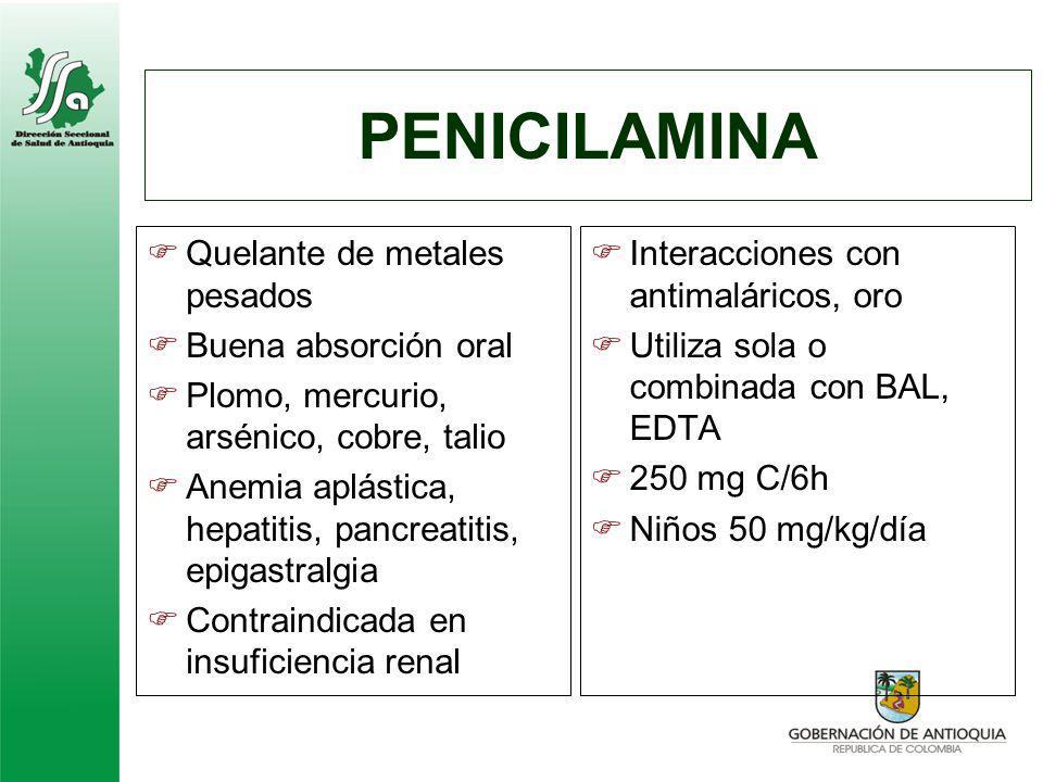 PENICILAMINA Quelante de metales pesados Buena absorción oral Plomo, mercurio, arsénico, cobre, talio Anemia aplástica, hepatitis, pancreatitis, epiga