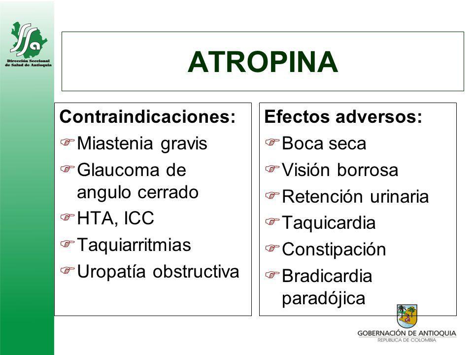 ATROPINA Contraindicaciones: Miastenia gravis Glaucoma de angulo cerrado HTA, ICC Taquiarritmias Uropatía obstructiva Efectos adversos: Boca seca Visi