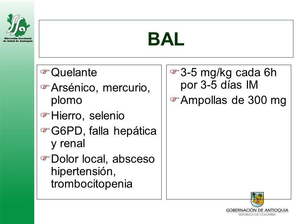 BAL Quelante Arsénico, mercurio, plomo Hierro, selenio G6PD, falla hepática y renal Dolor local, absceso hipertensión, trombocitopenia 3-5 mg/kg cada