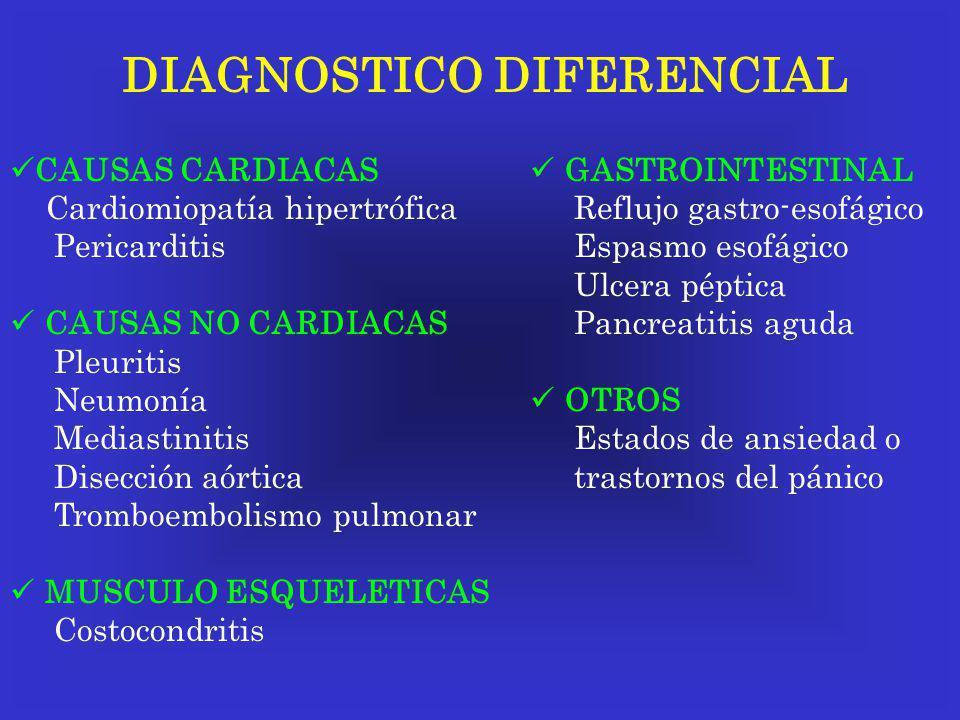 DIAGNOSTICO DIFERENCIAL CAUSAS CARDIACAS Cardiomiopatía hipertrófica Pericarditis CAUSAS NO CARDIACAS Pleuritis Neumonía Mediastinitis Disección aórti