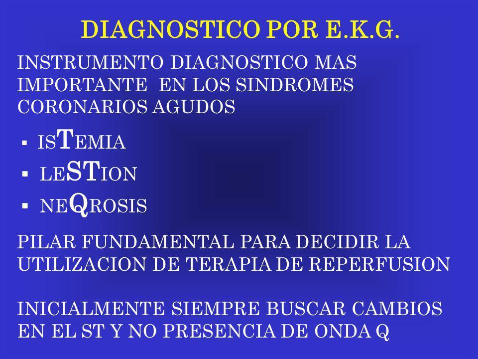 DIAGNOSTICO POR E.K.G. INSTRUMENTO DIAGNOSTICO MAS IMPORTANTE EN LOS SINDROMES CORONARIOS AGUDOS IS T EMIA LE ST ION NE Q ROSIS PILAR FUNDAMENTAL PARA