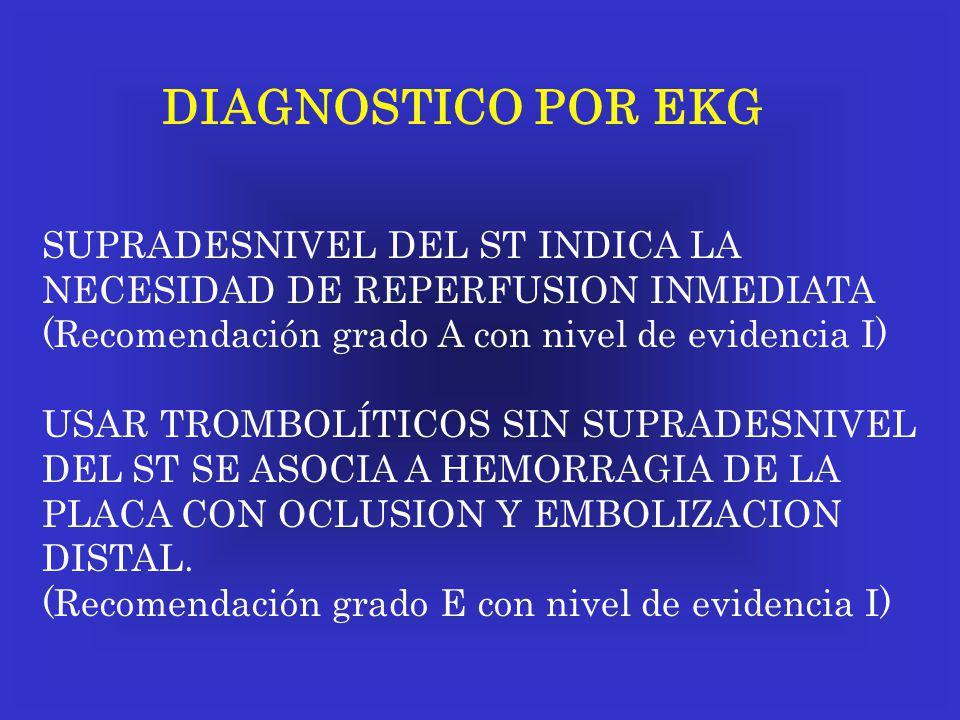 DIAGNOSTICO POR EKG SUPRADESNIVEL DEL ST INDICA LA NECESIDAD DE REPERFUSION INMEDIATA (Recomendación grado A con nivel de evidencia I) USAR TROMBOLÍTI