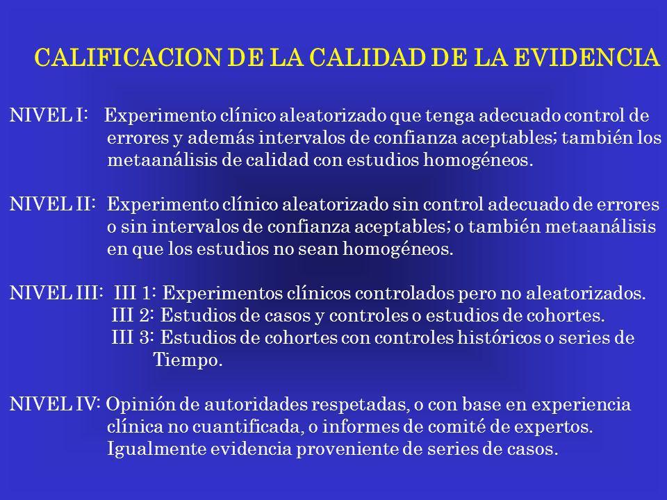 CALIFICACION DE LA CALIDAD DE LA EVIDENCIA NIVEL I: Experimento clínico aleatorizado que tenga adecuado control de errores y además intervalos de conf