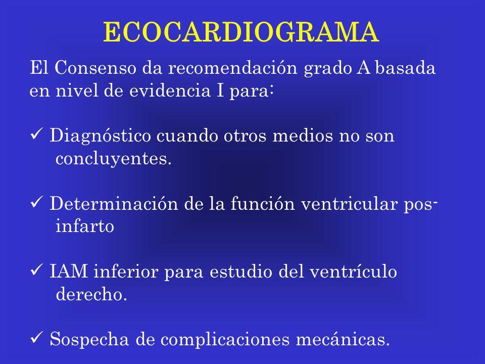 ECOCARDIOGRAMA El Consenso da recomendación grado A basada en nivel de evidencia I para: Diagnóstico cuando otros medios no son concluyentes. Determin