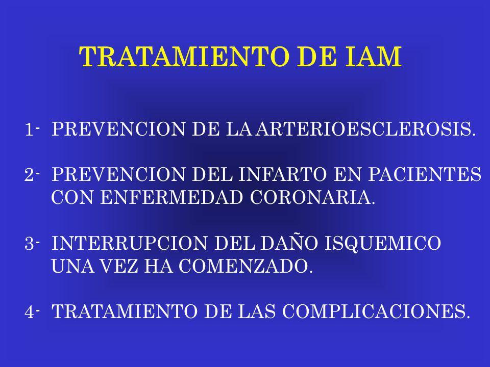 TRATAMIENTO DE IAM 1- PREVENCION DE LA ARTERIOESCLEROSIS. 2- PREVENCION DEL INFARTO EN PACIENTES CON ENFERMEDAD CORONARIA. 3- INTERRUPCION DEL DAÑO IS