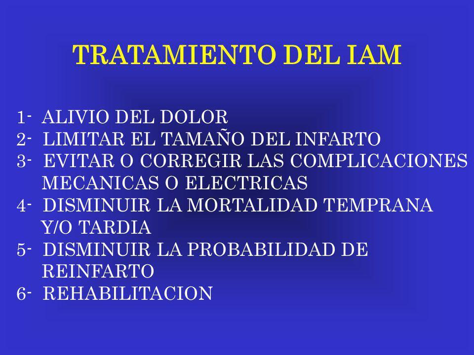 TRATAMIENTO DEL IAM 1- ALIVIO DEL DOLOR 2- LIMITAR EL TAMAÑO DEL INFARTO 3- EVITAR O CORREGIR LAS COMPLICACIONES MECANICAS O ELECTRICAS 4- DISMINUIR L