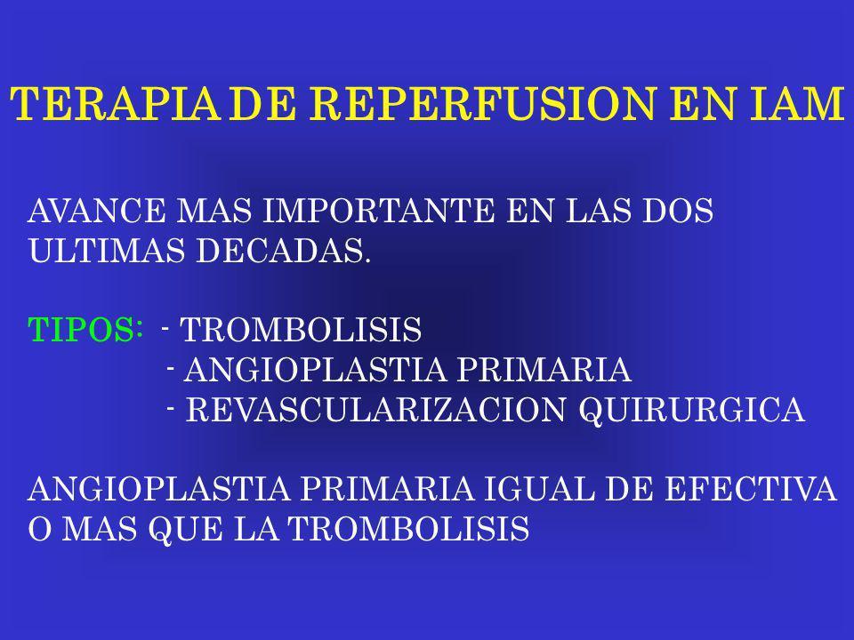 TERAPIA DE REPERFUSION EN IAM AVANCE MAS IMPORTANTE EN LAS DOS ULTIMAS DECADAS. TIPOS: - TROMBOLISIS - ANGIOPLASTIA PRIMARIA - REVASCULARIZACION QUIRU