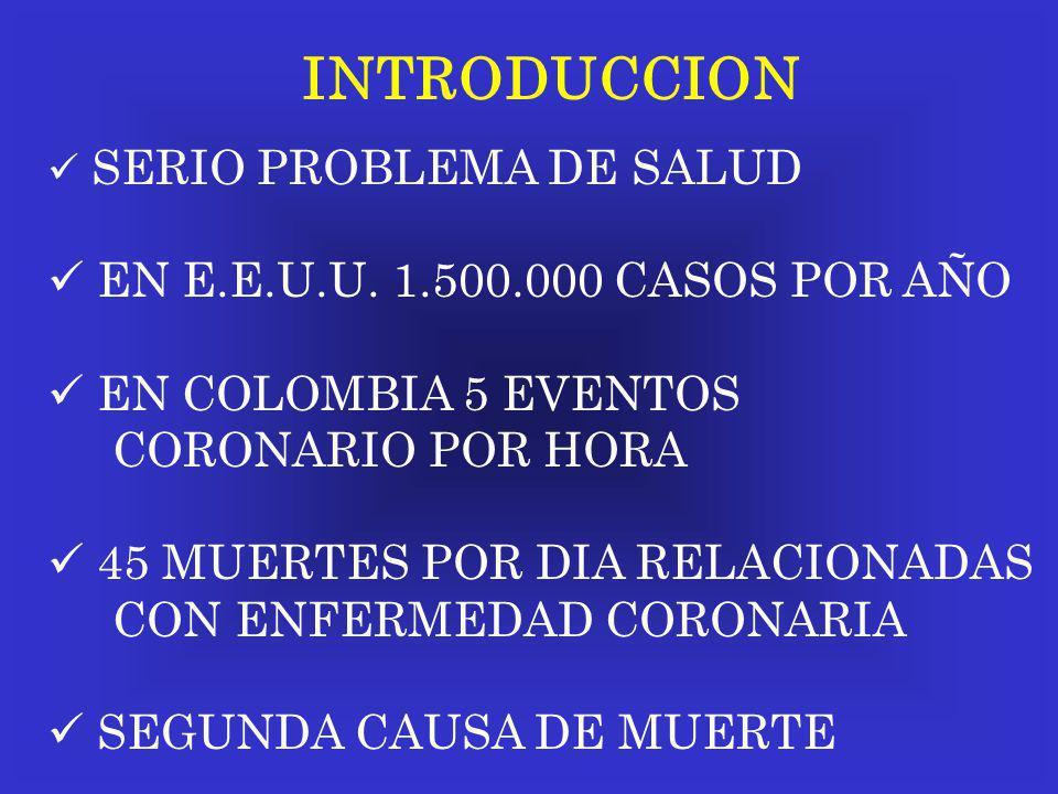 INTRODUCCION SERIO PROBLEMA DE SALUD EN E.E.U.U. 1.500.000 CASOS POR AÑO EN COLOMBIA 5 EVENTOS CORONARIO POR HORA 45 MUERTES POR DIA RELACIONADAS CON