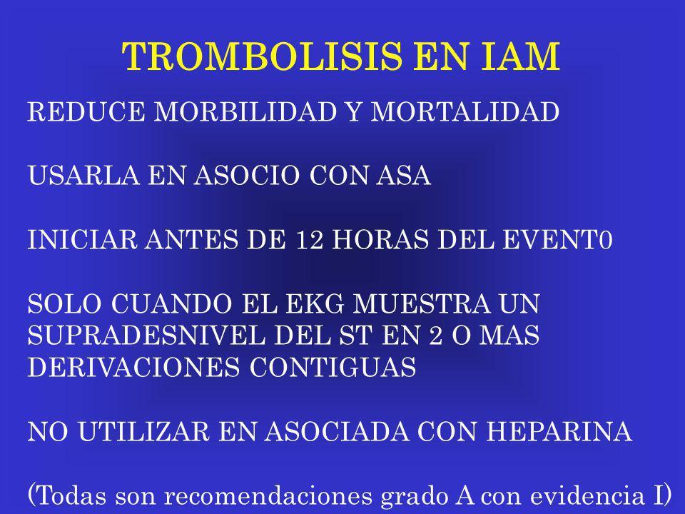 TROMBOLISIS EN IAM REDUCE MORBILIDAD Y MORTALIDAD USARLA EN ASOCIO CON ASA INICIAR ANTES DE 12 HORAS DEL EVENT0 SOLO CUANDO EL EKG MUESTRA UN SUPRADES