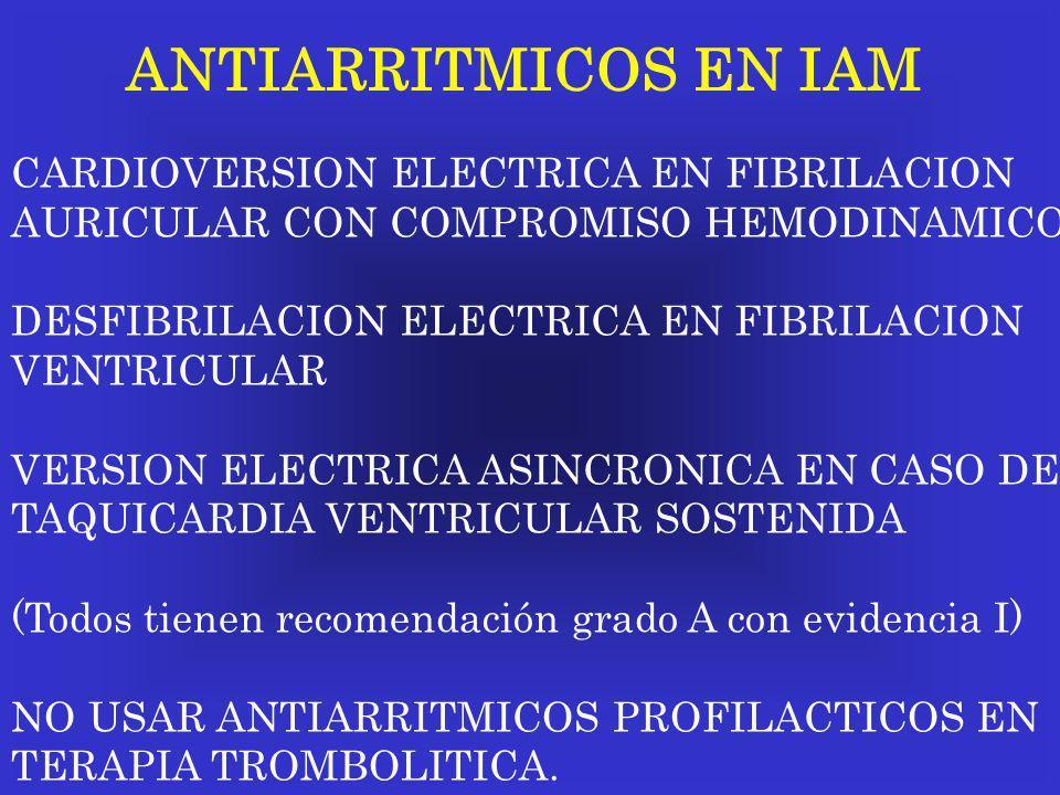 ANTIARRITMICOS EN IAM CARDIOVERSION ELECTRICA EN FIBRILACION AURICULAR CON COMPROMISO HEMODINAMICO DESFIBRILACION ELECTRICA EN FIBRILACION VENTRICULAR