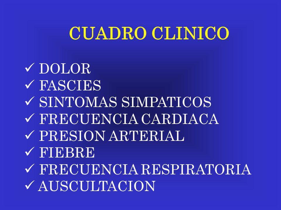 CUADRO CLINICO DOLOR FASCIES SINTOMAS SIMPATICOS FRECUENCIA CARDIACA PRESION ARTERIAL FIEBRE FRECUENCIA RESPIRATORIA AUSCULTACION
