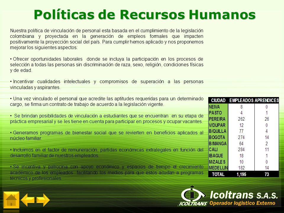 Nuestra política de vinculación de personal esta basada en el cumplimiento de la legislación colombiana y proyectada en la generación de empleos forma