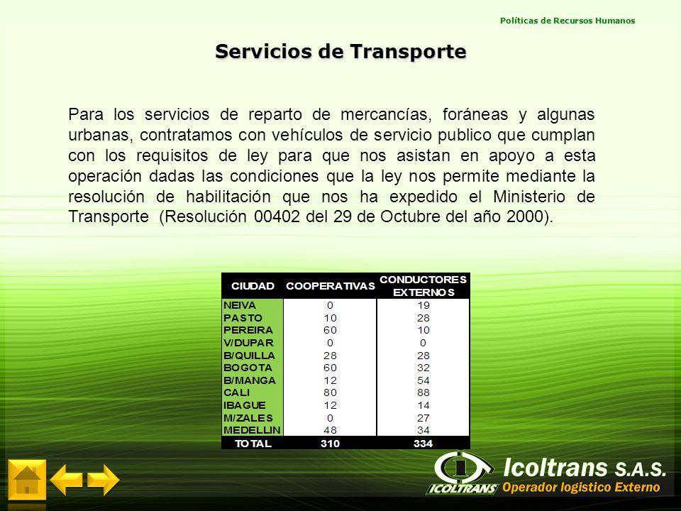 Para los servicios de reparto de mercancías, foráneas y algunas urbanas, contratamos con vehículos de servicio publico que cumplan con los requisitos
