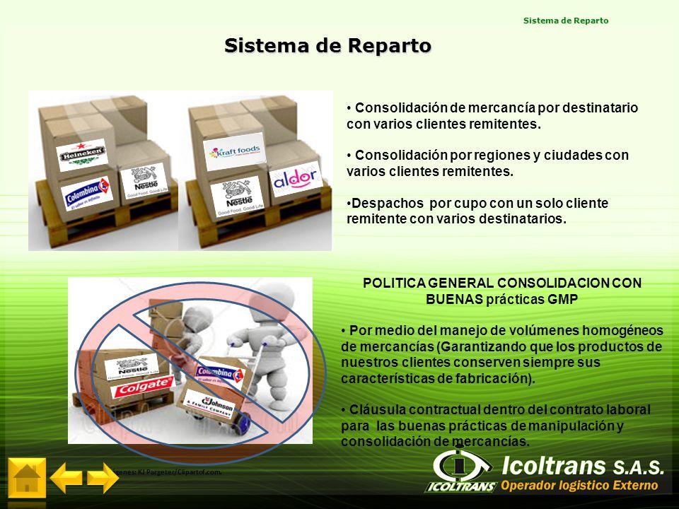 POLITICA GENERAL CONSOLIDACION CON BUENAS prácticas GMP Por medio del manejo de volúmenes homogéneos de mercancías (Garantizando que los productos de