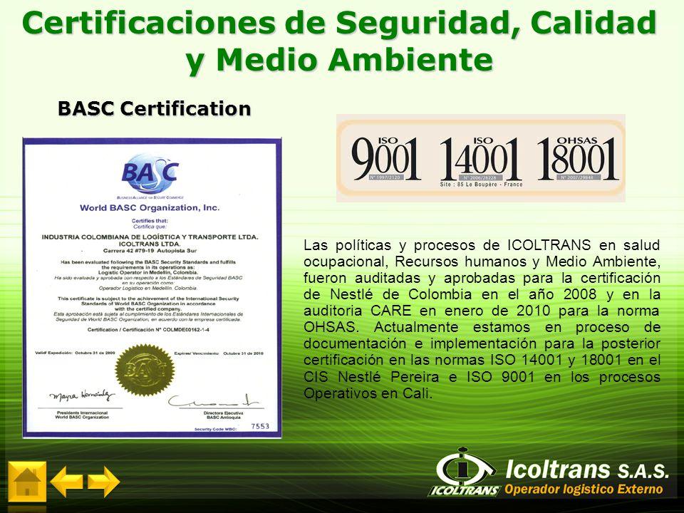 Certificaciones de Seguridad, Calidad y Medio Ambiente BASC Certification Las políticas y procesos de ICOLTRANS en salud ocupacional, Recursos humanos