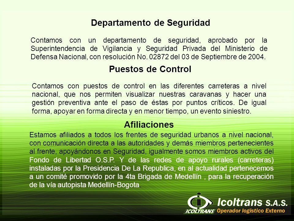 Departamento de Seguridad Contamos con un departamento de seguridad, aprobado por la Superintendencia de Vigilancia y Seguridad Privada del Ministerio