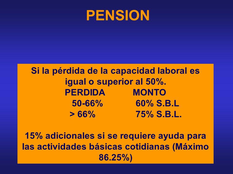 INDEMNIZACION Si la pérdida de la capacidad laboral esta entre 5% y 49%. MONTO: 2 A 24 S.B.L