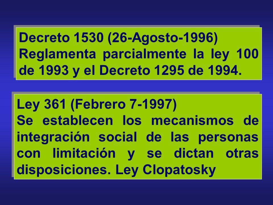Decreto 2100 (29-Noviembre-1995) Se adopta la tabla de Clasificaciones Económicas para el Sistema General de Riesgos Profesionales y se dictan otras d
