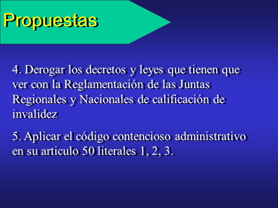 Propuestas 3. Modificar el Manual único para la calificación de invalidez en Colombia (Decreto 917 de 1999, Articulo segundo literal a. Invalidez, pér