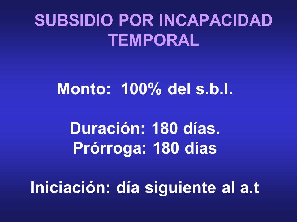 SUBSIDIO POR INCAPACIDAD TEMPORAL Monto: 100% del s.b.l.
